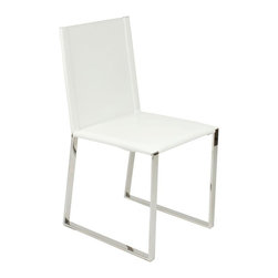 Euro Style - Cosimo Leather Dining Chair - Set of 2 - Set of 2. Leather seat and back . Stainless steel base . Fully assembled. Seat height: 18 in.. Durable bonded leather seat and back. No assembly required. Color/Finish: White/Chrome. 16.75 in. L x 20.5 in. W x 33.75 in. H