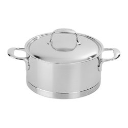 Demeyere - Demeyere Atlantis 7-Ply Dutch Oven with Lid - 41322 - Shop for Dutch Ovens from Hayneedle.com! The Demeyere Proline Atlantis Dutch Oven with Lid will quickly become your go-to kitchen favorite. This pot and lid combination was designed to braise sear and more. It includes dual stay-cool welded helper handles and comes with a tight-fitting lid that locks in moisture. This Dutch oven was crafted of 4.8mm-thick Demeyere 7-ply stainless steel to quickly and evenly conduct heat and is oven-safe to 600 degrees. It works on all cooktops including induction and is conveniently dishwasher-safe. About Demeyere CookwareFounded in 1908 Demeyere is a family-owned company based in Belgium. The brand has earned a devoted following for its high-quality stainless steel cookware which features the latest culinary innovations. Used by professional chefs and home cooks worldwide Demeyere cookware combines performance durability sleek design and technological innovation. In the late 1960s the company pioneered the use of layered aluminum construction for exceptional heat conduction. Other innovations include InductoSeal 7-PlyMaterial and TriplInduc technologies. The InductoSeal base features seven different alloys including a copper disk for maximum heat distribution. Demeyere's patented 7-PlyMaterial consists of a thick aluminum-alloy core sandwiched between a layer of pure aluminum on either side for even heat distribution. TriplInduc combines three metal alloys to make the cookware suitable for all types of cooking methods including induction. Pans and pots feature ergonomic welded handles rims designed for dripless pouring and durable stick-resistant finishes. They're suitable for use on any cooktop and are dishwasher-safe for easy cleanup.