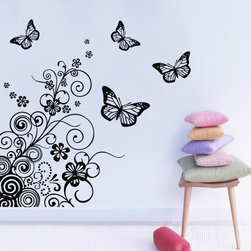 ColorfulHall Co., LTD - Butterfly Wall Decal Floral Chinese Traditional Patterns Flower - Butterfly Wall Decal Floral Chinese Traditional Patterns Flower