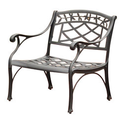 Crosley Furniture - Crosley Furniture Sedona Cast Aluminum Club Chair in Charcoal Black - It may be hot outside, but you'll feel cool kicking back in our heavy duty, solid-cast aluminum furniture. Designed for style and built to last, this club chair features a durable charcoal black powder coated finish that will weather the harshest of outdoor conditions. Experience pure nirvana while unwinding in the chair's comfortable contoured seats. Your very own outdoor oasis awaits you!