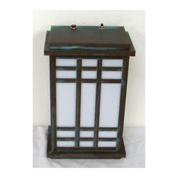 """Lamps Plus - Arts and Crafts - Mission Verde Emergency Outdoor Wall Lantern - Mission style emergency outdoor wall lantern. Verde bronze finish. Takes one PF26 bulb (not included). 12"""" high 6"""" wide.  Verde bronze finish.  Takes one PL26 bulb (not included).  12"""" high 6"""" wide."""