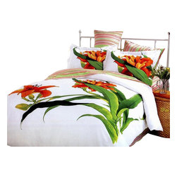 Le Vele - 6 Pc Queen Tiger Lily Duvet Cover Bedding Set - Includes one flat bed sheet, one duvet cover, two pillow cases and two flanged pillow cases. 205 thread count. Imported. Machine washable. Tumble dry. Large tiger lilies on backdrop. Reverses to vibrant and colorful striped pattern with matching pillow shams. Snap at the foot of the duvet make it easy to insert a comforter. Oversized flat sheet provides versatility. Tucked in or can hang over eliminating the need for a bed skirt. High quality cotton fabric and superior workmanship with fine yarns of satin weaving for wrinkle control. Printed with the latest reactive dyeing technology. Excellent brightness and long lasting colors. Sheets feel soft and inviting. Made from cotton. Flat Bed Sheet: 102 in. L x 94 in. W. Duvet Cover: 87 in. L x 80 in. W. Pillow Cases: 30 in. L x 20 in. W. Flanged Pillow Cases: 32 in. L x 20 in.W