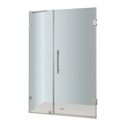 Aston - Aston Nautis 37x72, Completely Frameless Hinged Shower Door, Stainless - The Nautis brings simplistic sophistication to your next bath renovation. This modern shower fixture consists of a fixed wall panel paired with a swinging hinged door to create a beautiful completely frameless alcove unit that instantly upgrades your bath.. The Nautis is constructed with 10mm ANSI-certified clear tempered glass, premium leak-seal clear strips and is engineered for reversible left or right hand installation.  Base is not included.