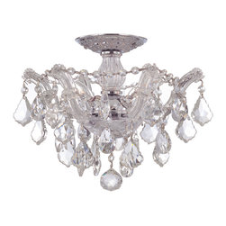 Crystorama - Maria Theresa Semiflush Mount - All the glamor of a hand-cut crystal chandelier designed for a lower-ceiling setting. This dazzling fixture brings presence and sparkle to your favorite formal space.