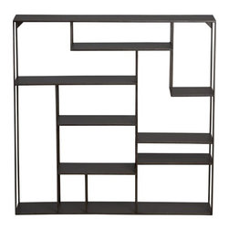 Alcove Wall Shelf - This Mondrian-style, 30-inch, square set of shelves would be a great storage spot for spice jars and other kitchen necessities.