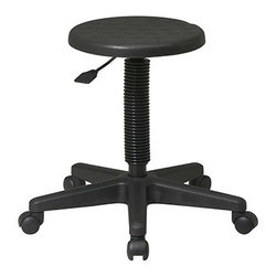 Office Star - Work Smart KH Series KH503 Intermediate Stool - Black Self-Skinned Urethane - Intermediate stool. Self skinned urethane seat. One touch pneumatic seat height adjustment. Heavy duty nylon base with dual wheel carpet casters.