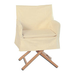 """Custom Coverings - Director Chair Slipcovers, Natural Twill, Short Skirt - Custom Quality Director Chair Slipcovers including seatpad are designed to """"Dress Up a Bare Director Chair"""" and transform it into a beautiful, stylish and more versatile chair! Making it suitable in the dining room, kitchen, bedroom and on the porch or patio.These smartly tailored slipcovers come in 2 versions a Long Skirt that has a more dressy look ideal in the dining room and a Short Skirt that has a more casual look and can be used with dining height chairs, barstools and counter stools. Described by Sunset Magazine as """"We like the tailored look of these slipcovers with their elegant kick pleats."""" Also appeared on the Cover of Coastal Living Magazine! Made of Heavyweight 100% Cotton Twill & Canvas Fabrics in a variety of colors.  Designed to Fit Traditional Director Chairs Only! Brands such as Telescope & Gold Medal. Arm Width 22-24"""" Frame Depth 16"""" Seat Height 17-18"""" Dining Height 34"""" Dry Clean."""