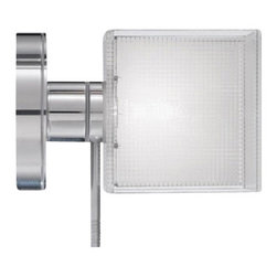 """Icone Luce - Icone Luce Mosaico Spot wall/ceiling lamp - The Mosaico Spot wall/ceiling lamp from Icone Luce was designed by Marco Pagnoncelli in 2009. This contemporary wal/ceilingl lamp made in Italy has a direct light. The structure of Mosaico fixture is made of metal in buffed aluminium, the glass has a rectangular form and the screen is painted in black or white mosaic. Illumination is provided by one G9, 1x40W halogen (not included).         Product Details: The Mosaico  Spot wall/ceiling lamp from Icone Luce was designed  by Marco Pagnoncelli in 2009. This contemporary wal/ceilingl lamp made in Italy has a  direct light.   The structure of Mosaico fixture is made of metal in buffed aluminium,  the glass has a rectangular form and the screen is painted in black or white mosaic. Illumination is provided by  one  G9, 1x40W  halogen (not included). Details:                         Manufacturer:            Icone Luce                            Designer:            Marco Pagnoncelli                            Made in:            Italy                            Dimensions:                        Height: 5.3""""(13.5cm) X Width: 3.5""""(9cm)                                         Light bulb:                        G9, 1x40W  halogen (not included)                                         Material:            Metal, Glass"""