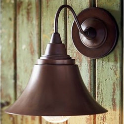 "Barnard Sconce, Set of 2, Antique Copper finish - Like the fixtures found on farmhouses throughout New England, these simple flared lamps are made of solid brass. 11.5"" wide x 14.5"" deep x 12.5"" high Crafted of solid brass with an antique-copper finish. Seeded-glass bulb covers. Damp UL-listed to allow for placement on a covered porch. Catalog / Internet Only."