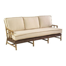 Whitecraft - Whitecraft Biltmore South Terrace Sofa - One of two debut collections for Biltmore® the largest privately owned residence in the US located in Asheville NC. Inspired by pieces on display in the Winter Garden of Biltmore South Terrace brings a distinctive sophistication to this selection of All-Weather seating and dining options. Crafted with resin over an aluminum frame with Viro® weave it is ideal for year round outdoor use. Exposed bamboo-inspired legs and a unique fretwork design draw the eye with its refined aesthetic.As firm believers in tradition and a strong belief in the art of craftsmanship Woodard has acquired Whitecraft Furniture the longest-lasting wicker company in the U.S. While wicker is known for its strength and durability those attributes are overshadowed by the ingenuity and elegance of Whitecraft furniture. Handcrafted and built to last. Whitecraft by Woodard is the beautiful woven patio furniture counterpart to Woodard's wrought iron and aluminum lines. With a variety of styles and finishes to fit your outdoor needs. Escaping to your own private outdoor oasis soothes the soul. Whether you're looking to create a casual seating area a sophisticated outdoor dining space or a complete outdoor room you'll find everything you need right here. Make a personal style statement—elegant exotic traditional modern or transitional—whether you have a covered porch deck pool-side patio or garden nook. We have the styles finishes fabrics and designs to fit any need. Whitecraft patio furniture has been creating hand-crafted patio furniture for almost 100 years. Whitecraft patio furniture quality designs and comfort have allowed Whitecraft the opprotunity to enlarge their offerings year after year.