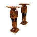 Pair of Art Deco Marble Pedestals - Height: 43 in. (109.22 cm)