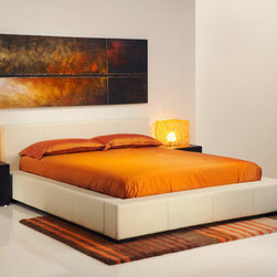 """Mobital - Maxim Platform Bed - The Maxim platform bed is simple in its design and materials. Fully upholstered in top grain leather, The European style spring form gives any mattress the support it needs. Features: -Top grain all leather upholstery.-European style spring form system.-Powder Coated Finish: No.-Gloss Finish: No.-Frame Material: Mixture of plywood and particle board.-Solid Wood Construction: No.-Upholstered: Yes -Upholstered Section: All.-Upholstery Material: Top grain leather.-Upholstery Fill Material: Foam.-Nailhead Trim: No.-Tufted: No..-Number of Items Included: 1.-Non Toxic: Yes.-Scratch Resistant: No.-Mattress Included: No.-Recommended Mattress Height: 10"""".-Box Spring Required: No.-Headboard Storage: No.-Underbed Storage: No.-Mattress Profile Maximum: 18"""".-Mattress Profile Minimum: 8"""".-Slats Required: Yes -Slats Included: Yes..-Center Support Legs: Yes.-Adjustable Headboard Height: No.-Adjustable Footboard Height: No.-Wingback: No.-Trundle Bed Included: No.-Attached Nightstand: No.-Cable Management: No.-Built in Outlets: No.-Lighted Headboard: No.-Finished Back: No.-Reclaimed Wood: No.-Distressed: No.-Bed Rails Included: Yes.-Eco-Friendly: Yes.-Recycled Content: No.-Wood Moldings: No.-Canopy Frame: No.-Hidden Storage: No.-Jewelry Compartment: No.-Weight Capacity: 500 lbs.-Swatch Available: No.-Commercial Use: No.-Product Care: Clean with damp cloth.Specifications: -FSC Certified: No.-EPP Compliant: No.-CPSIA or CPSC Compliant: Yes.-CARB Compliant: Yes.-JPMA Certified: Yes.-ASTM Certified: No.Dimensions: -Overall Height - Top to Bottom (Size: King): 32"""".-Overall Height - Top to Bottom (Size: Queen): 32"""".-Overall Width - Side to Side (Size: King): 93"""".-Overall Width - Side to Side (Size: Queen): 76"""".-Overall Depth - Front to Back (Size: King): 93"""".-Overall Depth - Front to Back (Size: Queen): 93"""".-Overall Product Weight (Size: King): 134 lbs.-Overall Product Weight (Size: Queen): 121 lbs.-Headboard Dimensions Height (Size: King): 32"""".-Headboard Dim"""