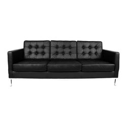 #N/A - The Draper Sofa - The Draper Sofa. The Drapper Sofa is constructed with  full aniline leather nd heavy gauge steel legs. The inner frame is solid wood.  Arm, seat and back cushions of variable density foam.