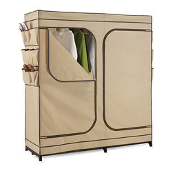 None - Storage Closet 60-inch - Organize your clothing with this 60-inch storage closet. This closet features a shoe organizer and double doors.