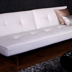 Dorel Home Products - Belle Convertible Futon in White - Rich tufted faux leather upholstery. Hidden support legs add stability when in sleep position. Converts quickly and easily to a sleeper. Adjustable back allows multiple positions for sitting and lounging. Stylish chrome legs. Warranty: One year. Sofa: 74 in. L x 33.5 in. W x 31.1 in. H (100 lbs.). Bed: 74 in. L x 44.1 in. W x 15 in. H. Assembly InstructionsFunctionality is never compromised and the unit is completely adjustable, allowing several different positions for multiple people at the same time. In seconds, this sleeper converts from a sofa to bed and anywhere in between.