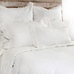 """Pom Pom at Home - Pom Pom at Home Mathilde Cream Duvet Cover - Pom Pom at Home's bedding and accessories lend lived-in elegance to everyday experiences.�� The Mathilde duvet cover enhances a bedroom's decor with sweet and feminine appeal. Frayed ruffles and luxurious velvet trim deliver a textured accent to the cream linen bedding. Made from 100% linen. Available in twin, queen or king sizes. Machine washable. Insert not included. Twin: 68""""W x 88""""H. Queen: 88""""W x 88""""H. King: 90""""W x 104""""H. 2.5"""" frayed edge. 0.25"""" velvet ribbon trim."""