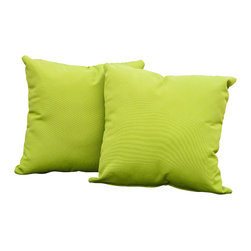 "Great Deal Furniture - Samara 17"" Outdoor Accent Pillow (Set of 2), Green - Accessorize your home with these Samara green pillows. Upholstered in Sunbrella woven fabric, a durable weather resistant material, these colorful chic accent pillows are a great option to add flare and comfort to your home. Use them indoors or to accessorize your outdoor seating set."