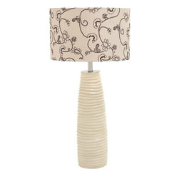 Benzara - Contemporary Table Lamp Crafted with A Unique Style - Brighten up your home with warm light and classic elegance with this Table Lamp which features a sleek and contemporary appeal. An excellent choice for blending in with living room and dining room settings, this table lamp can add style and subtle extravagance to interiors. The lamp also includes a cream shade that has a striking print to add a more attractive touch to the overall appeal. It is made with fine attention to detail from quality material to ensure a sturdy construction that can last a long time. It features a sleek base that is crafted with a unique style in a soft white color that can complement different decors. This table lamp is a perfect gift for some student or scholar who would love to read and study under its soothing light.