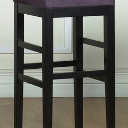 """Armen Living - Sonata Square Stationary Stool in Eggplant (2 - Choose Seat Height: 26 in.Black wooden legs. Made from 100% bicast leather and microfiber fabric. 14.5 in. L x 14.5 in. W x 26 in. H (12 lbs.)While the refined design profile and upright posture of the backless Sonata barstool whispers of minimalism, seven lively cushion color choices offer a full palette of vivid expression. The Sonata also features easy-to-clean microfiber upholstery. Eggplant purple microfiber backless 26"""" stationary barstool with an ebony finished wood frame."""