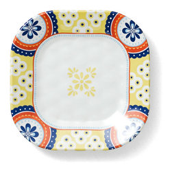 Q Squared NYC - Montecito Blue Border Appetizer Plate - Transport your dining table to historical Montecito with the beautiful, vibrant colors of this collection, inspired by the intricate tiles and textures of the romantic city.