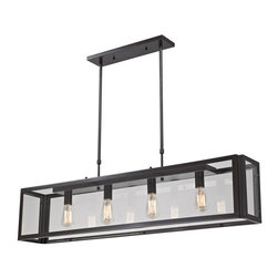 ELK - ELK 63023-4 Pendant - This Series Showcases Minimalist Angular Design With Clear Glass Panels Displayed By The Oiled Bronze Metal Framework. Optional Filament Bulbs Offer A Decorative Focal Point To The Functional Aspects Of The Series.