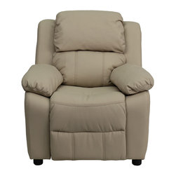 "Flash Furniture - Deluxe Heavily Padded Contemporary Beige Vinyl Kids Recliner - Kids will now be able to enjoy the comfort that adults experience with a comfortable recliner that was made just for them! This chair features a strong wood frame with soft foam and then enveloped in durable vinyl upholstery for your active child. Choose from an array of colors that will best suit your child's personality or bedroom. This petite sized recliner features storage arms so kids can store items away and retrieve at their convenience.; Child's Recliner; Overstuffed Padding for Comfort; Additional Headrest Cover Included; Beige Vinyl Upholstery; Easy to Clean Upholstery with Damp Cloth; Flip-Up Storage Arms; Storage Arm Size: 3.25""W x 6""D x 11""H; Solid Hardwood Frame; Raised Black Plastic Feet; Intended use for Children Ages 3-9; 90 lb. Weight Limit; Meets or Exceeds CA117 Fire Resistance Standards; Safety Feature: Will not recline unless child is in seated position and pulls ottoman 1"" out and then reclines; Assembly Required: Yes; Country of Origin: China; Warranty: 2 Years; Weight: 29 lbs.; Dimensions: 28""H x 25""W x 26 - 39""D"