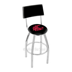 Holland Bar Stool - Holland Bar Stool L8C4 - Chrome Washington State Swivel Bar Stool - L8C4 - Chrome Washington State Swivel Bar Stool w/ Back belongs to College Collection by Holland Bar Stool Made for the ultimate sports fan, impress your buddies with this knockout from Holland Bar Stool. This contemporary L8C4 logo stool has a chrome single-ring base and a cushioned back to achieve maximum comfort and support. Holland Bar Stool uses a detailed screen print process that applies specially formulated epoxy-vinyl ink in numerous stages to produce a sharp, crisp, clear image of your team's emblem. You can't find a higher quality logo stool on the market. The plating grade steel used to build the frame is commercial quality, so it will withstand the abuse of the rowdiest of friends for years to come. The structure is triple chomed to ensure a rich, sleek, long lasting finish. Construction of this framework is built tough, utilizing solid mig welds. If you're going to finish your bar or game room, do it right- with a Holland Bar Stool. Barstool (1)