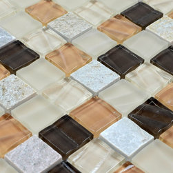 Stone Glass Mosaic Tile - Product Description:Item#: STG0123Collection: Stone Glass MosaicColor: Color BlendSurface Finish: Glossy glass and stoneShape: SquareChip Size: 1x1In. (27mm x 27mm)Thickness: 5/16 In. (8mm)Each sheet of this tile is approximately 1 sq ft per sheet and is mesh mounted on high quality fiber glass for easy installation of your mosaic tile projects.Application: Stone Glass Mosaic are impervious to the water, thus it is great for both interior and exterior use so moisture is not an issue. Stone Glass Mosaic are great on floors and walls and have been most popular in bathrooms, spas, kitchen backsplash, wall facades and pools as well as a variety of other applications.Characteristics: Stone Glass Mosaic has a zero water absorption rate, and this tile exceeds ANSI standards for water absorption for mosaic tile. It is strong, durable, contamination free, and only the best quality tiles are selected as our tiles are inspected for blemishes before shipment.