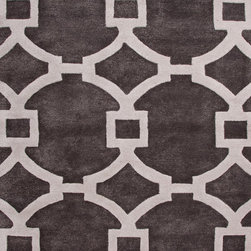 Jaipur Rugs - Modern Geometric Pattern Gray /Black Wool/Silk Tufted Rug - CT03, 3.6x5.6 - Over scaled sharp geometrics characterize this striking contemporary range of hand tufted rugs. The high/low construction in wool and art silk creates texture and surface interest and gives a look of matt and shine.