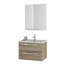 ACF - 24 Inch Larch Canapa Bathroom Vanity Set - Set Includes: Vanity Cabinet (2 Drawers), high-end fitted ceramic sink, wall mounted vanity mirror.