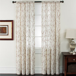 None - Riverhead Linen Embroidered Curtain Panel Pair - This set of two Riverhead linen curtain panels adds classical elegance to any window. Available in natural linen,these hand-loomed panels are embellished with embroidered scrolls. The linen is mixed with just enough polyester to improve the drape.