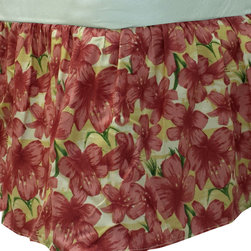 Dan River - Maroon Flowers Twin Bedskirt Floral Bedding Accessory - FEATURES: