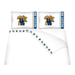 Sports Coverage - Sports Coverage NCAA Kentucky Wildcats Microfiber Hem Sheet Set - Queen - NCAA Kentucky Wildcats Microfiber Hem Sheet Set have an ultrafine peach weave that is softer and more comfortable than cotton. Its brushed silk-like embrace provides good insulation and warmth, yet is breathable.   The 100% polyester microfiber is wrinkle-resistant, washes beautifully, and dries quickly with never any shrinkage. The pillowcase has a white on white print beneath the officially licensed team name and logo printed in vibrant team colors, complimenting the new printed hems.    Features: -  Weight of fabric - 92GSM ,  - Soothing texture and 11 pocket,  -  100% Polyester,  - Machine wash in cold water with light colors,  - Use gentle cycle and no bleach ,  - Tumble-dry,  - Do not iron ,