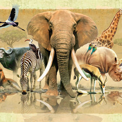 Murals Your Way - African Reflections Wall Art - The male African elephant can reach over 10,000 lbs