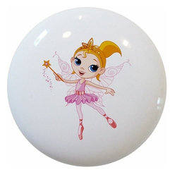 Carolina Hardware and Decor, LLC - Pink Fairy Princess Ceramic Cabinet Drawer Knob - New 1 1/2 inch ceramic cabinet, drawer, or furniture knob with mounting hardware included. Also works great in a bathroom or on bi-fold closet doors (may require longer screws).  Item can be wiped clean with a soft damp cloth.  Great addition and nice finishing touch to any room.