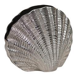 Zodax - Zodax Mauritius Aluminum Fan Shell Vase - Zodax - Vases / Urns - IN5144 - Mauritius Aluminum Fan Shell Vase