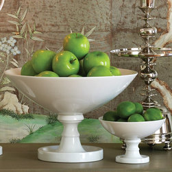 Global Views Decor White Grand Pedestal Bowl - This classic display piece is perfection. It would complement any decor style.
