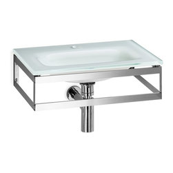 WS Bath Collections - Pocia 665801.29.83 Wall Mounted Sink - Pocia by WS Bath Collections Bathroom Sink (Washbasin) 20.1 x 13.5 Wall-mount Integrated Glass Basin and Top with Faucet Hole with Towel Bar