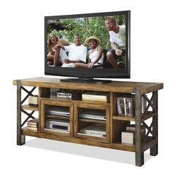 Riverside Furniture - Sierra 68 in. TV Console - Top fixed center shelf.