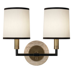 Robert Abbey - Axis Double Wall Sconce, Aged Brass - -2 - 60W Max.