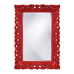 Seville Glossy Red Mirror - I'd love to see this mirror used in a powder room or as a pair in a master bathroom retreat. It would be a stunning focal point for a small room.