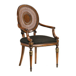 """Inviting Home - Louis XVI Style Armchair - Louis XVI style beechwood armchair with hand-caned back; overall dimensions: 22""""W x 20-1/2""""D x 39-3/4""""H; seat is 22""""W x 20-1/2""""D x 20""""H; arms are 26-1/2""""H; back is 39-3/4""""H; hand-made in Italy; Louis XVI style beech wood chairs with hand-caned backs hand-rubbed antiqued walnut finish antiqued silver leaf accents. Chairs have black muslin upholstery. These carved wood chairs are hand-crafted in Italy."""