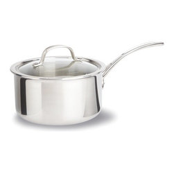 Calphalon - Tri-Ply Stainless Steel Saucepan with Lid - Features: -Three layers, stainless steel.-Heavy-gauge aluminum core and additional layer of stainless steel.-Offer even consistent heating for excellent browning.-Enhanced control of the cooking processed.-Lid design to give lower profile for space saving storage ability.-Classic vessel design crafted from two metals.-Full heavy-gauge aluminum core encased between two layers of stainless steel.-Cool''V'' stainless steel handle stay cool on the stove top.-Polished, magnetic stainless steel exterior.-Cover: Tempered glass oven safe to 450 degrees.-Oven and broiler safe.-Gas, electric, halogen, ceramic and induction stove tops.-Dishwasher safe.-Tri-Ply Stainless Steel collection.-Collection: Tri-Ply Stainless Steel.-Distressed: No.Dimensions: -1.5-qt. Dimensions: 4.17'' - 5.03'' H x 13.13'' W x 6.75'' D.-2.5-qt. Dimensions: 4.92'' - 5'' H x 16.4'' W x 8.72'' D.