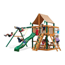 Gorilla Playsets - Gorilla Playsets Chateau Supreme Wood Swing Set with Western Ginger Canopy Multi - Shop for Swings Slides and Gyms from Hayneedle.com! Reclaim your house by getting your children their own chateau - that is their own Gorilla Playsets Chateau Supreme Wood Swing Set with Western Ginger Canopy. Large French country estates or chateaus are known as places of luxurious respite. And this large play structure fits that bill nicely for your kids. Giving children a proper place to blow off steam outside in the fresh air this play set helps children focus other times when more of their concentration is needed. And its physically interactive design encourages kids to play hard and develop their gross motor skills and physical awareness. The canopied platform sandbox and built-in picnic table even give them a place where they can get out of the sun and eat. The canopy is made from all-weather Sunbrella fabric that protects them from both harsh UV rays and even light rain. Whereas this encouragement to actively play outdoors may just be the best part of this play set helping pave the way for a happy and healthy future what kids will notice first are all the fun extras. This play set comes equipped so many features that kids can play outside on it all day without losing interest or getting bored. Such toys as the steering wheel the flag holder the tic-tac-toe panel and the telescope all encourage imaginative play that will also help your child grow mentally. Parents will also love the thoughtful secure design that allows kids to play safely including securely anchored easy-grip handles and stable square footing.Additional FeaturesTotal dimensions: 19W x 14D x 11H feetPlatform dimensions: 6W x 4L x 5H feetIncludes tic-tac-toe panel steering wheel telescopeAlso includes flag kit safety handles hardware4 x 4 solid wood framing4 x 6 swing beamNaturally resistant to rot decay and insect damageAbout Gorilla Playsets Since 1992 Gorilla Playsets has been designing and selling ready-to-assemble playsets. With a reputation for providing excellent customer service Gorilla Playsets conveniently provides customers with affordable playsets including quality wood components sturdy playset accessories all necessary hardware and clear instructions. Gorilla Playsets always keeps safety in mind while creating inventive durable products that provide children with myriad possibilities for fun and play.
