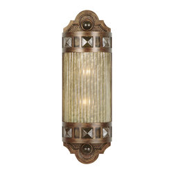 Fine Art Lamps - Scheherazade Green Glass Sconce, 711150-1ST - Recalling the era of the old-time movie palaces, this exquisite wall sconce is fashioned from dark bronze metal and sports a colored shade crafted from handblown glass. It's perfect for a home theater, spa bath or anywhere you want to add a touch of drama to your surroundings.