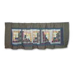 Patch Quilts - Wild Goose Log Cabin Curtain Valance 54 x 16 - - Beautiful patchwork Valance.Window Treatments for ensemble and Bedding items from Patch Magic  - Machine washable.Line or Flat dry only Patch Quilts - CVWGLC