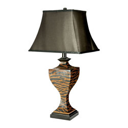 Safavieh - Safavieh LIT4001A-SET2 Sahara Safari Table Lamp - Add a touch of adventure to your living room, bedroom or den with the dramatic Sahara Safari Lamp. Striking tiger stripes of black and rust artfully decorating the urn shaped body pop against the contrasting solid black base, finial and classic satin shade. The Sahara Safari Lamp has a 3 way switch that allows you to adjust brightness to meet your needs.