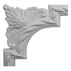 """Ekena Millwork - 9 3/8""""W x 9 3/8""""H Valeriano French Ribbon Panel Moulding Corner - 9 3/8""""W x 9 3/8""""H Valeriano French Ribbon Panel Moulding Corner. Our beautiful panel moulding and corners add a decorative, historic, feel to walls, ceilings, and furniture pieces. They are made from a high density urethane which gives each piece the unique details that mimic that of traditional plaster and wood designs, but at a fraction of the weight. This means a simple and easy installation for you. The best part is you can make your own shapes and sizes by simply cutting the moulding piece down to size, and then butting them up to the decorative corners. These are also commonly used for an inexpensive wainscot look."""