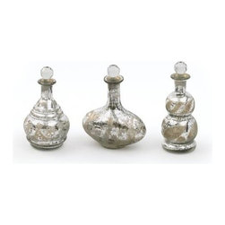 "Go Home Ltd - Set of Three Mercury Decanters by Go Home - Subtle etching on three antiqued silver Mercury Decanters by Go Home will add a romantic whimsical appeal to a favorite display area. The daintily shaped jars are perfect for bath or powder room decor. (GH) Sold as a set of 3. Small: 8""h x 4.5""dia Medium: 5.5""dia x 9.5""h Large: 4""dia x 10""h"
