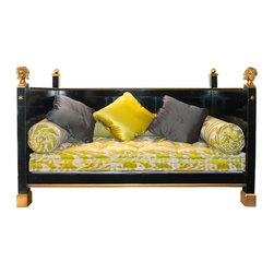 """Empire Style Bonaparte Day Bed in Black Finish with Gold - Empire style """"Bonaparte"""" day bed with paneled back and sides. The front legs are topped with lacquered wood balls or optional finely chiseled bronze heads. Shown in black finish with gold trim, Made in France by Moissonnier; 82 1/4"""" x 41 3/4"""" x 53 1/2"""" h. Mattress and pillows not included. Fits a 75"""" x 35 1/2"""" mattress."""